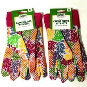 Expert Gardeners Canvas Gloves Two Pairs With Grip